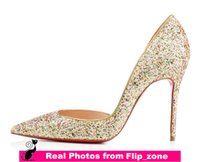 Wholesale Shoes For Gold Sequin Dress - Multi-color Bling Sequins Gold Wedding Shoes for Bride Pointed Toe High Stiletto Heels Bridal Party Bridesmaid Dress Shoes Cheap Colorful