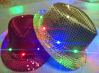 Wholesale Novelty Light Up Fedora Hat Flashing LED New Years Party Blinking Dance Costume Hats For Christams Lamp Luminous Hat