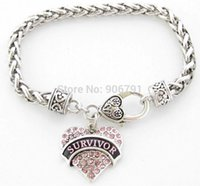 Cheap Survivor Breast Cancer Pink Ribbon Crystal Heart Silver Bracelet Jewelry with Lobster Claw free shipping