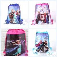 Wholesale 2016 new children backpacks frozen Anna Elsa Kristoff Olaf Prince hans non woven drawstring backpack children school bag QH6010