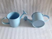 Metal mini bucket - Sky Blue Mini Watering can sharp pure garden bucket tin box Wedding favors tins and pails