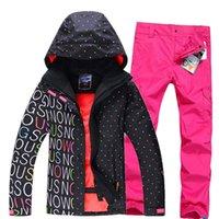 Wholesale Gsou snow womens ski suit set snowboard suit for women snow suit black white ski jacket and colorful pants free ship by EMS