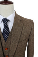 colored buttons - Retro Light colored Brown tweed custom made Groom Tuxedos mens piece suits slim fit tailor made wedding suits for men