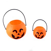 Wholesale New Arrival Halloween Pumpkin Lantern Pumpkin Bucket Tank plastic halloween pumpkin buckets halloween pumpkin lights CM