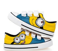 kids fabric cotton - 2015 Spring Kids shoes for boys sports shoes EVA hook loop cotton fabric round toe colors Minions fashion Shoes