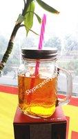 antique glass jar - OZ GLASS MASON JAR WITH METAL LID AND PLASTIC PP STRAW STORAGE JAR GLASS BOTTLE COFFEE MUG TEA MUG DRINKWARE