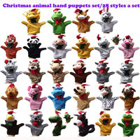 Wholesale Velvet Christams Animals Set Of piece Plush Hand Puppets Stuffed Doll Plush Marionette Toys Talking Props Chirstmas Day Gifts