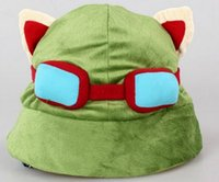 Wholesale Hot League of Legends LOL Teemo Hat Army Green Cap DressUp Cosplay Gift