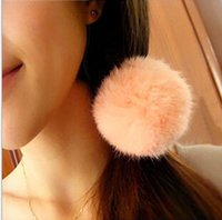 angora rabbit fur - 2015 NEW South Korea Angora rabbit ball hair bands hair ball of fur hair rope band Hair Accessory rubber band