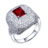 Cheap Red stone ring New deisign black stone ring Made with aaa Cubic Zirconia Pave Setting Lead Free wedding women ring