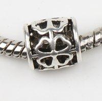 Wholesale New Tibetan Silver Tube Flower mm Hole Open Clover Big Hole Spacer Beads Fit European Pandora Charms Bracelets Craft DIY mm