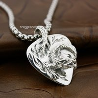 Wholesale Silver Biker Necklace - 92.5% Sterling Silver Chinese Flying Dragon Mens Biker Rocker Pendant 8X015(Necklace 24inch)