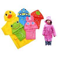 Wholesale 2015 NEW FIT CM Cartoon Kids Raincoats for Children Rainwear Green Pink Yellow
