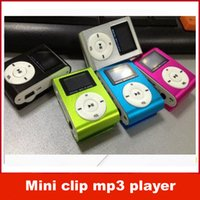 Wholesale Mini clip mp3 player metal screen style with Earphones USB Chargering cable crystal box support TF card colors Mixed