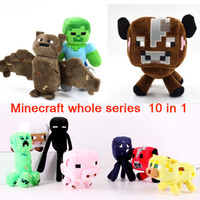 Wholesale Minecraft Action Figure Stuffed Plush Toys in1 Enderman Creeper Ocelot Squid Hot Games Figures Steve Doll Kids Baby BoyToys New Year Gift