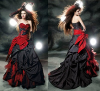 gothic - 2014 Winter Vintage Red Black Wedding Dresses Ruched Sweetheart Lace up A Line Court Train Spring Gothic Bridal Gown