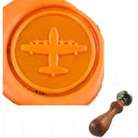 airplane invitations - Vintage Airplane Custom Picture Logo Wedding Invitation Card Wax Seal Stamp Set