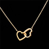 Wholesale Gold Plated Fine Jewelry Stainless Steel Fashion Small Double Hearts Statement Pendant Necklace Women Jewlery
