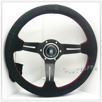 Wholesale BK Na r di quot MM Real Suede Leather Racing Steering Wheel w Alloy Spoke