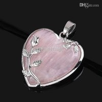Wholesale Elegant Pink Rose Quartz Heart Flower Pendant Bead Fit Necklace Making