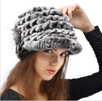 Wholesale Factory Direct Hot Sale Caps For Women Real Rex Rabbit Fur Hats Genuine Knitted Rex Rabbit Fur Beanies Skullies color new arrive free ship