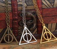 Wholesale Christmas gift Silver Deathly Hallows Pendant Necklace harry potter new arrival Bronze ancient silver colors