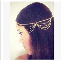 Wholesale Women Fashion Hair Accessories Girl Sequins Metal Headbands Lady Head Chain Hair Jewelry Tassel Chain Multilayer Headwear AF5B8