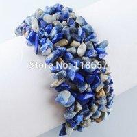 Precio de Chip stone bracelet-Joyería del envío Al por mayor-libre Blue-venas de piedra chip 4 ~ 8m m de la armadura de la pulsera del estiramiento de la gema de la joyería IH081