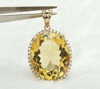Cheap Wholesale-Solid 14k Yellow Gold NATURAL Diamond & 16.98ct AWESOME Citrine Pendant Jewelry