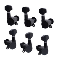 Wholesale A Set R3L Black Locked String Guitar Tuning Pegs Tuners Machine Heads for Folk Acoustic Electric Guitar MU0800