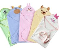 baby blankets wholesale - Baby Coral Velvet Blankets Newborn Winter Super Soft Bear Rabbit Cartoon Animals Hooded Baby Sleeping Blanket Bags Hot Selling J3039