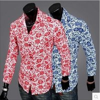 Wholesale Europe and America men s fashion long sleeved floral China style shirt