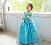 Cheap Cheap In stock 2014 Frozen Anna Elsa Dress Knee Length Christmas Eve Theme Party Costumes 2015 New Year's Girls Cosplay Pageant Gowns