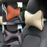 Almohadillas de asiento suave al por mayor Cuero de coches de clima de masaje asiento reposacabezas almohadas agujero de excavación interior accesorios cojines de asiento QBJ