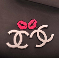 Cheap HOT SALE Nightclubs exaggerated fashion earrings Rose hip hop punk lips white acrylic earrings Popular jewelry H27