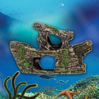 Wholesale New Simulation Rockery Fish Tank Ornament Aquarium Decor Double deck Ship K5BO