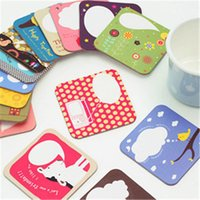 Wholesale Coaster Creative home lovely illustration style paper coasters Potholder random color7 cm Thick0 cm g H