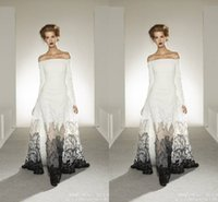 Cheap Exquisite 2015 Evening Dresses Zuhair Murad Off Shoulder White and Black A-Line See Through Lace Prom Evening Gown Dress