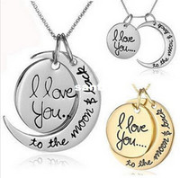 Wholesale quot I Love You To The Moon and Back quot Pendant Necklace Jewelry Mother s Day Gift Woman Fashion Chain Statement Necklace