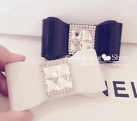 cosmetic contact lenses - Fashion elegant girl bowknot shape crystal contact lens case box for eyes cosmetic box