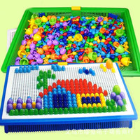 Wholesale new Intelligent D Puzzle Games DIY Nail Beads colors Plastic Flashboard Children Baby Toys Mushroom nail flap Educational Toy by SF EMS UPS