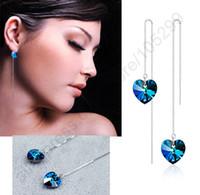 Wholesale Chandelier Thread - Genuine Real 925 Sterling Silver Jewelry 925 Ear Thread Ocean Heart SWA Crystal Earrings Drop