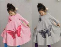 bohemian clothes - Children Beach Dress Big Butterfly Leisure Bohemian Girl Long Dress Hemline Vintage Kids Bow Dresses Fall Child Clothing Retail GX763