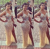 cutting - Luxurious Crystals Prom Dresses Beaded Straps Sweetheart Cut out Backless Sheath Side Slit Floor length Celebrity Gowns Party Dress