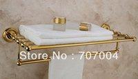 Wholesale Bathroom Wall Mounted Brass Golden Finish Towel Shelf Rack Holder W Towel Bar