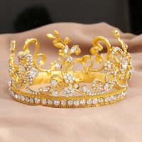 ab crystal tiaras - Gold Wedding Jewelry Baroque Tiaras Crowns Hair Accessories AB Crystals Princess Headdress Empire Circle Hair Pieces