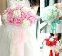 Wholesale Lovely Pink Peony Artificial Bridal Flower Wedding Bouquet Flowers Bridal Brooch Bouquet buque de noiva Bridesmaid Flower Bouquet
