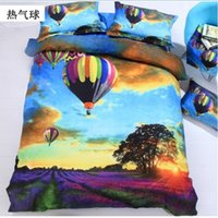 balloon color sheet - High Quality Bedclothes D Hot Air Balloon Bedding Set King Queen PC Bed sheet PC Comforter Cover Pillow Covers