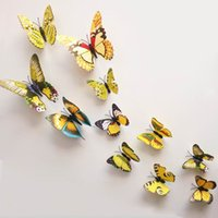 wall magnetic - New Design Mix Order D Wall Sticker PVC Butterfly Magnetic Sticker Set For Home Decoration Room DIY ZYQ1