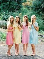 achat en gros de robes d'été jaune pour pas cher-Dessy Twist Wrap robe rose jaune bleu bébé Brides Robes formelles en mousseline de soie d'été demoiselle d'honneur au genou 2015 New Convertible Cheap